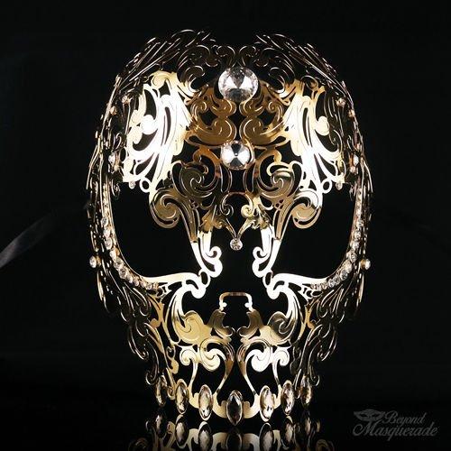 Full Face Light Metal Skull - Day of the Dead Masquerade Mask - Exquisite Skull D]()