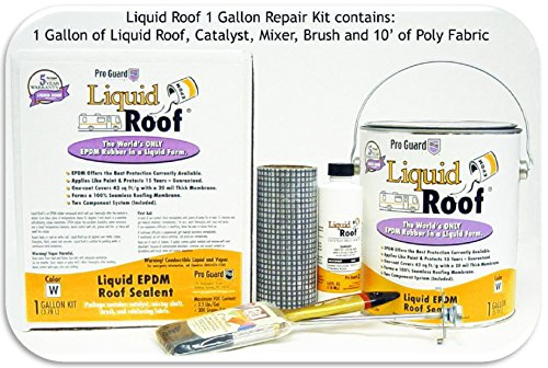 Liquid Roof RV Roof Coating 1 Gallon Repair Kit (this kit contains 1 gallon of Liquid Roof, mixer, brush and 1 - 3