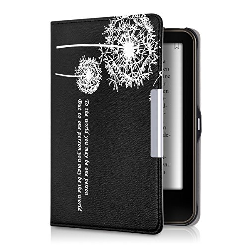 kwmobile Case for Tolino Vision 1/2 / 3/4 HD - Book Style PU Leather Protective e-Reader Cover Folio Case - white black