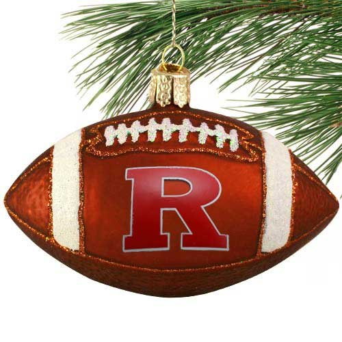 Rutgers Scarlet Knights 4'' Glass Football Ornament