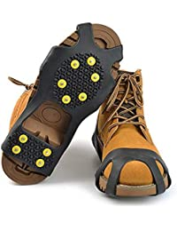 10-Stud Spikes Anti Slip Snow Ice Grips Over Shoe Traction Cleats Rubber Crampons Slip-on Stretch Footwear
