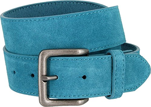 Square Buckle Casual Jean Suede Leather Belt for Women (Blue, 36) ()