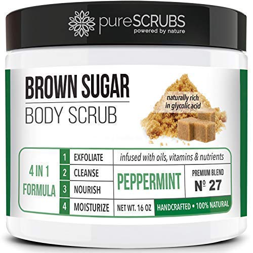Premium BROWN SUGAR Body Scrub Exfoliating Set - Large 16oz PEPPERMINT SCRUB For Face & Body,Infused Organic Essential Oils & Nutrients + FREE Wooden Stirring Spoon, Loofah & Mini Exfoliating Bar Soap