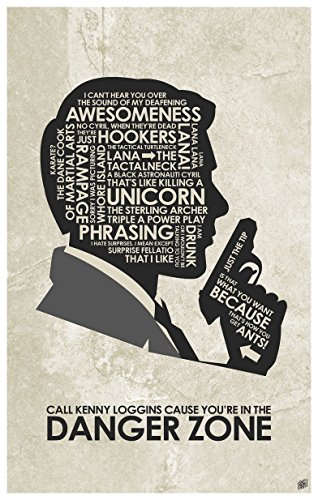 Archer Wall - Sterling Archer. Danger Zone. Word Art Print Poster (12