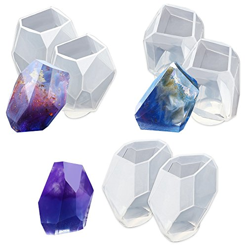 (Funshowcase Large Multi-faceted Gem Stone Resin Epoxy Mold for Jewelry, Soap Making, Cabochon Gemstone Crafting Projects 6-pack)