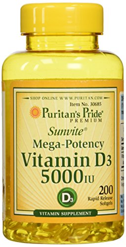 Puritans Pride Vitamin D3 5000 IU Softgels, 200 Count