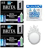 water filter 4 bottle - Brita Bottle Replacement Filter - 2 Packs - 4 Total Filters - Bonus Hydrapak Bottle Bright Cleaning Tablet
