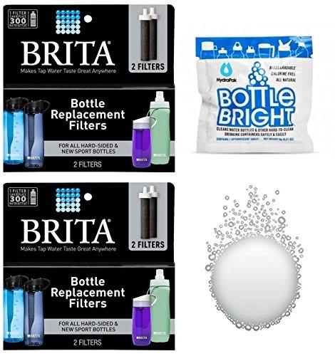 Brita Bottle Replacement Filter - 2 Packs - 4 Total Filters - Bonus Hydrapak Bottle Bright Cleaning Tablet