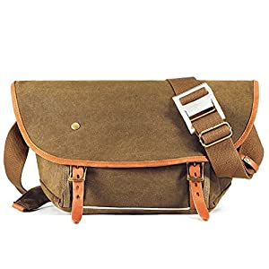Kattee Canvas Messenger Bag, Causual Leather Trim Crossbody Shoulder Bag for Men