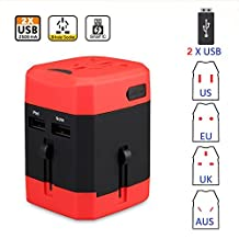 Universal International Plug Adapter 2 USB Port World 2500mA Travel AC Power Charger Adaptor with AU US UK EU converter All in One Plug (Red + black)