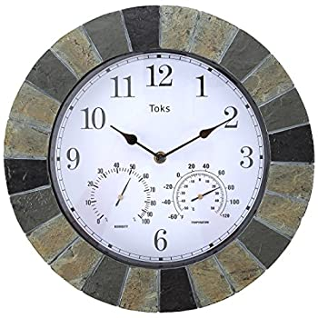 Lilys Home Hanging Wall Clock, Includes a Thermometer and Hygrometer and is Ideal for Indoor and Outdoor Use, Faux-Slate (14 Inches)