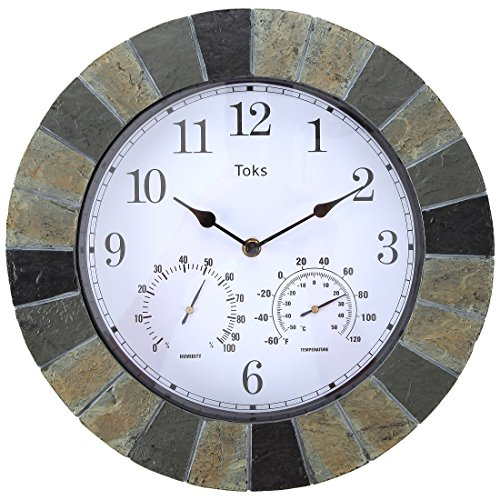Lily's Home Hanging Wall Clock, Includes a Thermometer and Hygrometer and is Ideal for Indoor and Outdoor Use, Faux-Slate (14 Inches) (Covered Stone Patio)