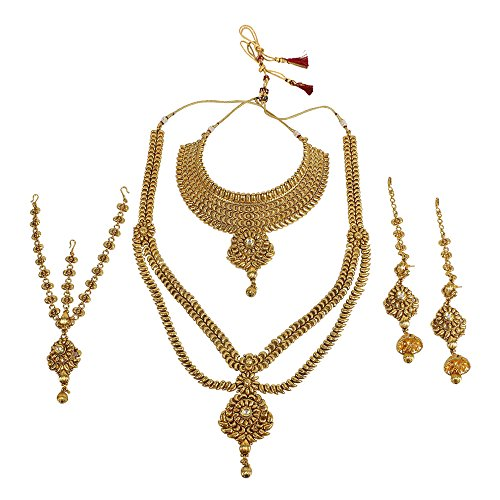 MUCHMORE Indian Style Golden Plated Polki Kundan Stone Indian Necklace Earrings Bridal Set Jewelry by Muchmore