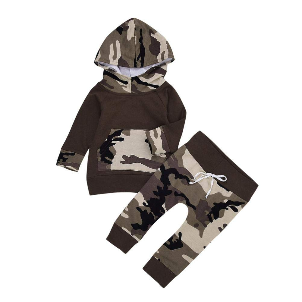Newborn Infant Toddler Baby Girl Boy Christmas Outfit Winter Gifts Long Sleeve Hoodie Tops Sweatsuit Pants 2pc Clothes Set (12-18 Months, Camouflage)