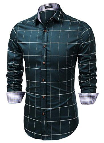 COOFANDY Mens Fashion Long Sleeve Plaid Button Down Shirts Casual Dress Shirt