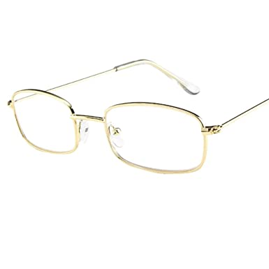 78d746edf92 Sixcup Vintage Nerd Square Metal Glasses Clear Lens frames Women Man Shades  Small Rectangular Frame Sunglasses (A -Gold -Clear)  Amazon.co.uk  Clothing