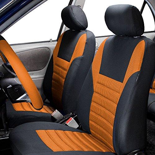(FH Group FH-FB068102 Premium 3D Air Mesh Seat Covers Pair Set (Airbag Compatible), Orange/Black Color- Fit Most Car, Truck, SUV, or Van)