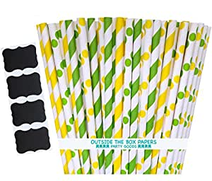 Outside the Box Papers Green and Yellow Stripe and Polka Dot Paper Straws 7.75 Inches 100 Pack Green, Yellow, White