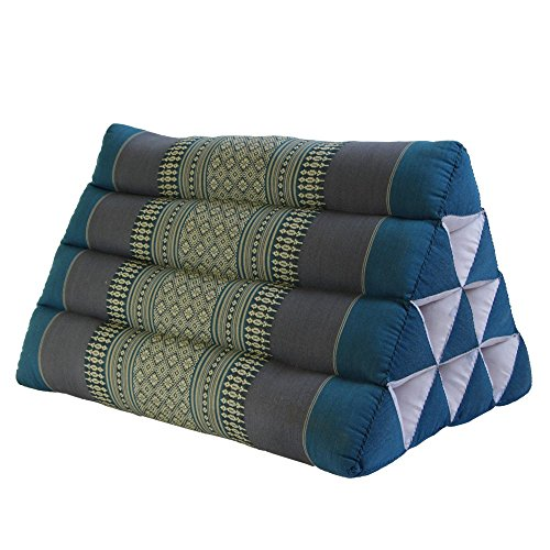 Thai Triangle Pillow Cushion Vintage Decorative Cotton Cushion, Blue by BRAIN GAMES