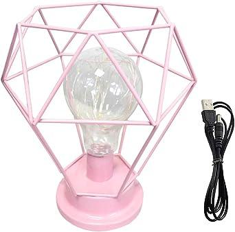 Lámpara de mesa Diamond USB funciona con pilas, luz de noche, lámpara de mesa: Amazon.es: Iluminación