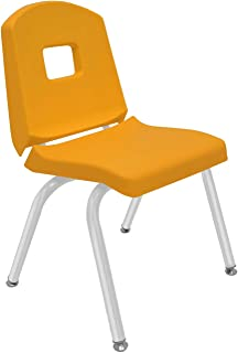 """product image for Creative Colors 1-Pack 14"""" Kids Preschool Stackable Split Bucket Chair in Yellow with Platinum Silver Frame and Self Leveling Nickel Glide"""