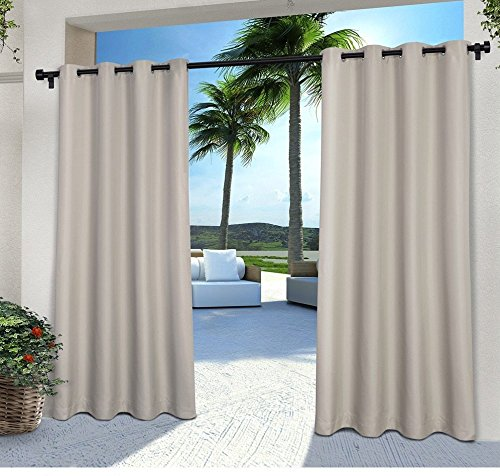 2 Pieces 108 Inch Cloud Grey Color Gazebo Curtains Set Pair Gray Solid Color Pattern Rugby