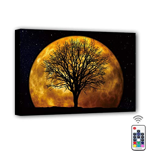 Canvas Prints Wall Art Led with Remote Control,7 color changing Canvas Wall Decor for Home, Living Room, Office or Classroom|15.75 x 11.8 RGB LED Light, Battery Operated (Moon & tree)