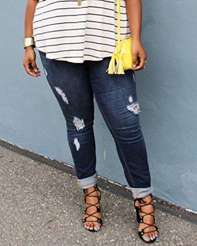 Tejanos Vaqueros Pantalones Largos Jeans Pantalones Azul Stretch Flaco Cintura Alta Rotos Mujer Lápiz RzOgwIn4q