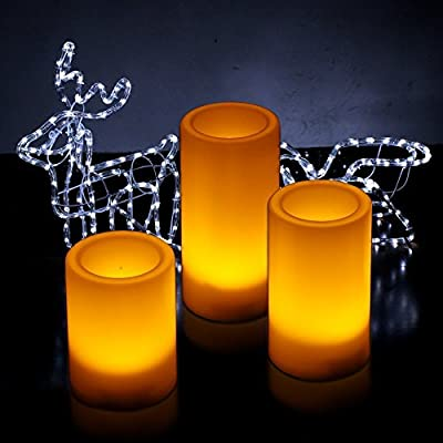 Kohree Flameless LED Candles Light with Remote Control & Timer , Pillar Candles Battery Operated, Set of 3