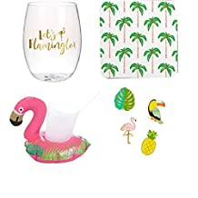 Let's Flamingle Gift Bundle: 30 Ounce Jumbo Stemless Wine Glass with Matching Napkin, Drink Markers, Flamingo Pool Float + Bonus Grandma Olive Recipe for Sex On The Beach