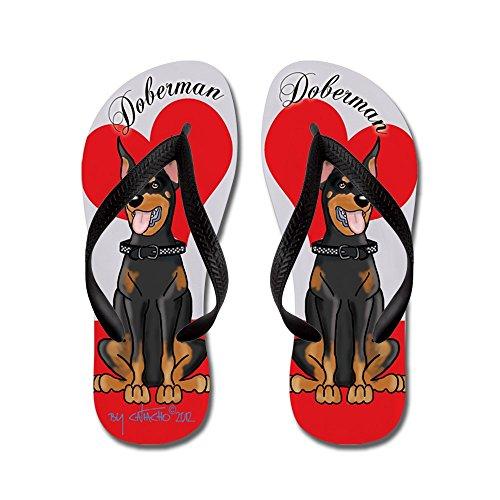 CafePress Doberman Flip Flops Red - Flip Flops, Funny Thong Sandals, Beach Sandals Black