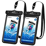 MoKo Floating Waterproof Phone Pouch [2 Pack], Waterproof Cellphone Case Dry Bag Holder with Lanyard Compatible iPhone X/Xs/Xr/Xs Max, 8/7/6s Plus, Samsung Galaxy S10/S9/S8 Plus, S10 e, Note 9/8