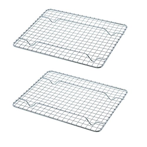 Goson Bakeware Baking, Cooling, Oven Roasting, Broiler Rack, 8in by 10in, Cross Wire, Chrome, Pack of 2, Compatible