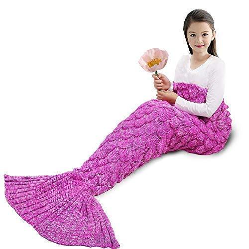 "YOWAOTO Mermaid Tail Blanket Kids Hand Crochet Snuggle and All Seasons Warm Your Feet Sleeping Bag (Pink-Kid, 55.2""x27.46"")"