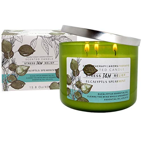 T&H Eucalyptus Spearmint Aromatherapy Candles Stress Relief Pure Soy Wax 3-Wick Candle 80 Hour Burn 16 Ounce Long Lasting