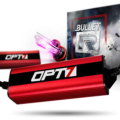 OPT7 Bullet-R H11 H8 H9 HID Kit - 3X Brighter - 4X Longer Life - All Bulb Sizes and Colors - 2 Yr Warranty [Hot Pink Xenon Light]