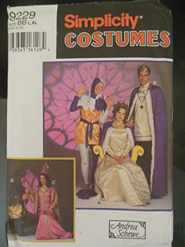 Simplicity Costumes Pattern 9229 SZ BB L, XL Andrea Schewe: Misses', Men's and Teens Medieval Costumes: King, Queen, Jester, Princess, Prince, Knight -