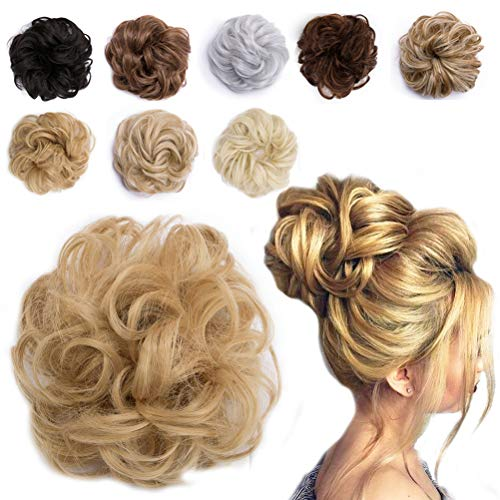 Messy Hair Bun Extensions Synthetic Updo Chignons Donut Elastic Bride Bun Ponytail Scrunchy Hairpiece Wig Accessory for Women 35g Ash Blonde Mix Golden ()