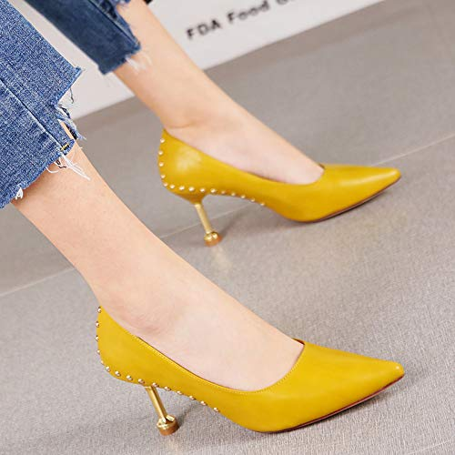 HRCxue Pumps Spitzkatze mit einzelnen Schuhen gelbe Modenieten Stiletto Heels Frauen, 34, gelb