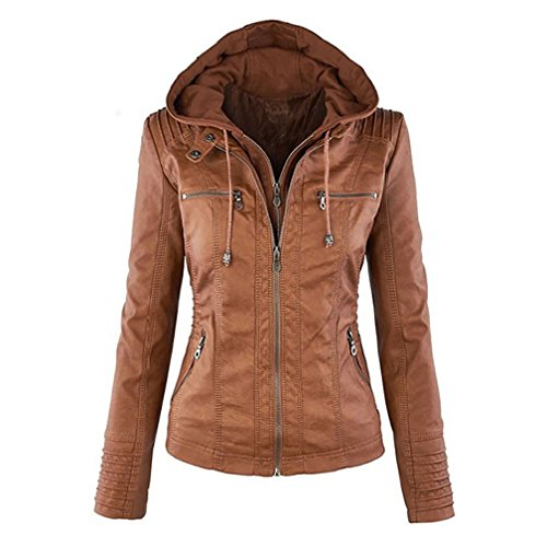 Seamido Women Hooded Faux Leather Coat Motorcycle Jacket-Brown-XL