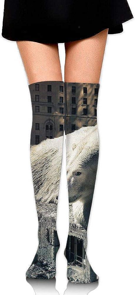High Elasticity Girl Cotton Knee High Socks Uniform Bear Urban Destruction Women Tube Socks