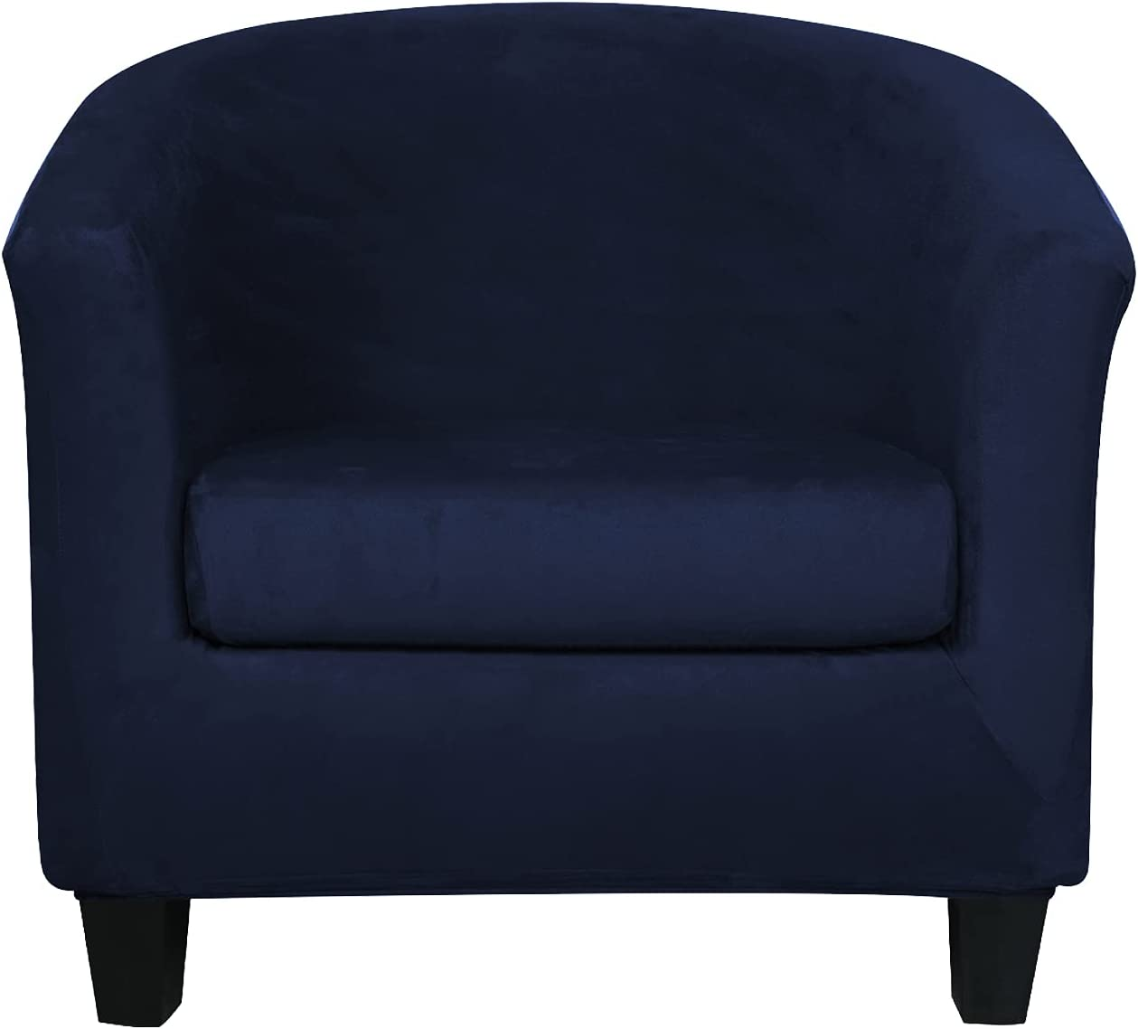 2 Pieces Velvet Tub Chair Covers with Cushion Cover Stretch Soft Removable Tub Chair Slipcovers Armchair Sofa Couch Furniture Protector for Living Room Club Bar Counter (Dark Blue)
