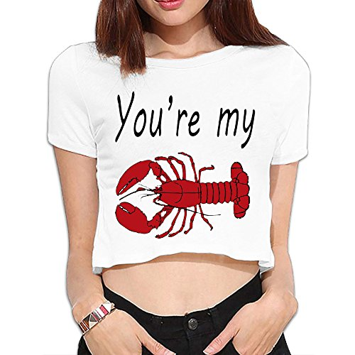 McNally You're My Lobster Women's Summer Loose Fit Fashional Short Sleeve Shirts Casual Crop Top (Red Skirt Target)