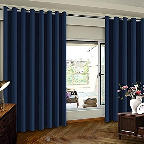 TURQUOIZE Extra Wide Room Divider Grommet Top Curtain panel, Patio Door curtain, Navy, 8.3ft Wide x 7ft Tall (100inch W x 84inch L), sold by (Wide Room Divider)