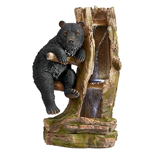 Water Fountain with LED Light - Black Bear Necessities Garden Decor Fountain - Outdoor Water Feature