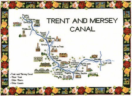 Trent And Mersey Canal Map Heritage Trent and Mersey Canal Map Cross Stitch Kit: Amazon.co.uk  Trent And Mersey Canal Map