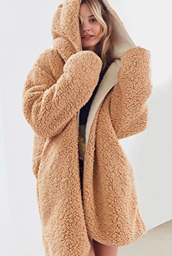 Khaki Thickening Soft Cardigan Winter Coats Teddy Fluffy Baggy Coat Womens Warm Autumn ZKOO Jacket Hooded Outwear Fleece wPB7ZaEq