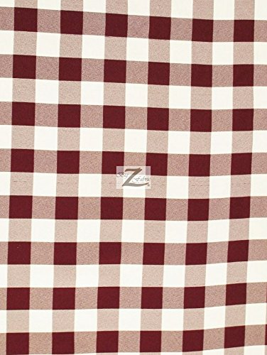 Burgundy Polyester Fabric (CHECKERED GINGHAM 100% POLYESTER POPLIN FABRIC - Burgundy - 57