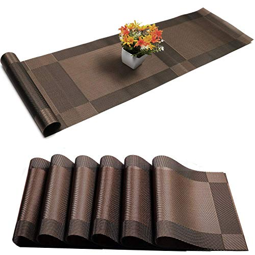 Placemats Set of 6 + 1 Table Runner, Stain Resistant Washable PVC Table Mats Non-Slip Washable Coffee Mats,Crossweave Woven Vinyl Heat Resistant Kitchen Tablemats for Dining Table (Coffee)