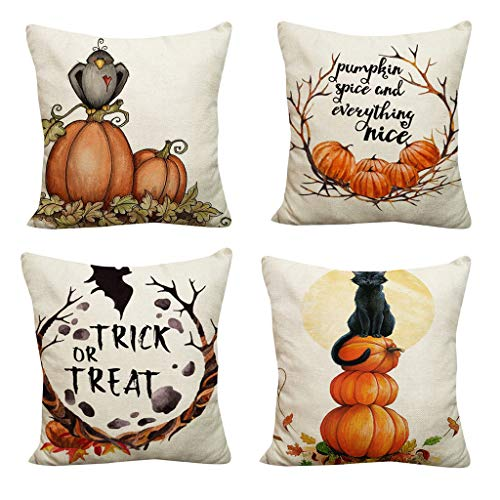 Winsummer Set of 4 Fall Throw Pillow Covers Autumn Thanksgiving Halloween Decorative Throw Pillow Case Happy Fall Yall Pumpkin Cushion Cover Farmhouse Decorations 18 x 18 Inch (Furniture Patio Donate)